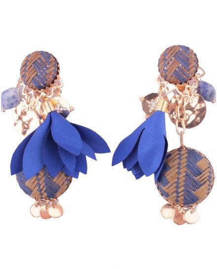 Boucles d'oreilles LOL à clips Gongs paille tressée fleur tissu