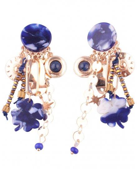 Boucles d'oreilles LOL à clips bleu et doré Marbritrefli