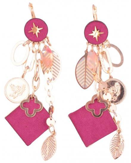 Boucles d'oreilles LOL Descente florale dorée et carré rose