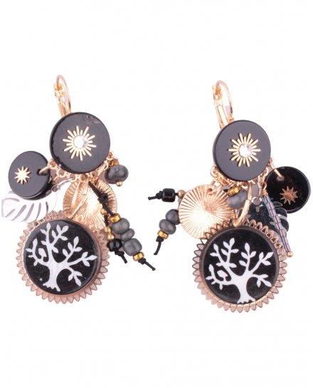 Boucles d'oreilles LOL noires gongs arbre de vie et soleils