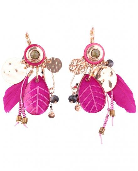 Boucles d'oreilles LOL rose et doré Feuilliplumi