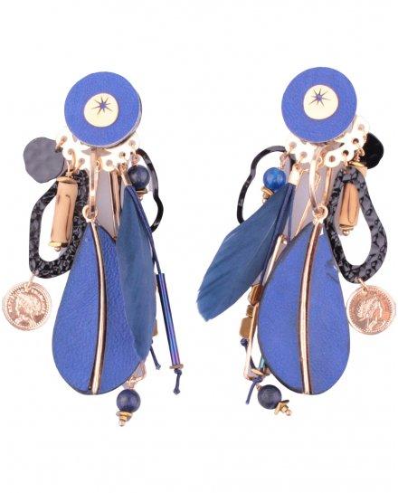 Boucles d'oreilles LOL à clips bleu et doré Eclomisio