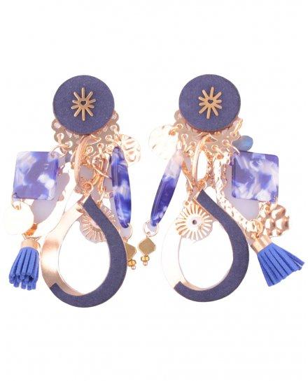 Boucles d'oreilles LOL bleu et doré Voilita