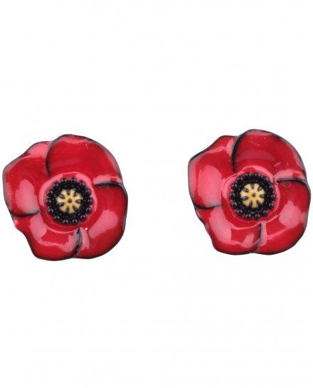 Boucles d'oreilles LOL coquelicots rouges coeurs jaunes