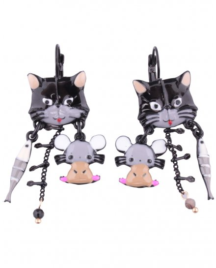 Boucles d'oreilles LOL chat souris et poisson