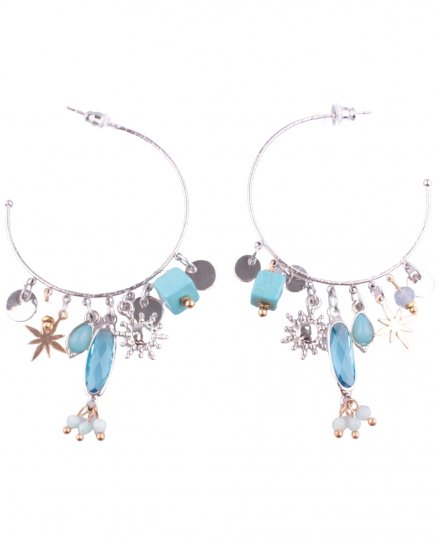 Boucles d'oreilles LOL Anneaux argent et turquoises Cubitoili