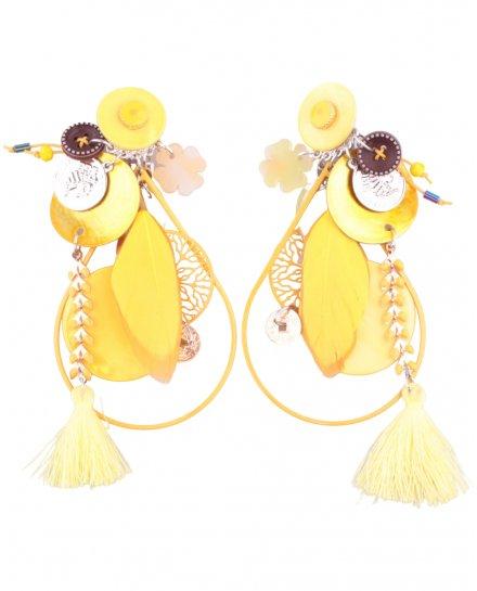Boucles d'oreilles LOL à clips jaunes Romiplumi