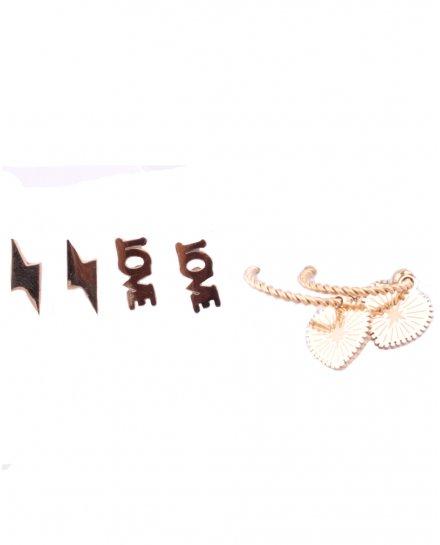 Lot 3 Boucles d'oreilles acier doré éclair love anneaux