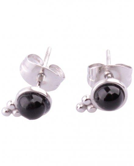 Boucles d'oreilles Acier Grappe perle noire Lolilota