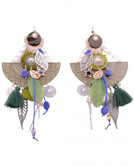 Boucles d'oreilles LOL Grand Pendule à feuilles et plumes