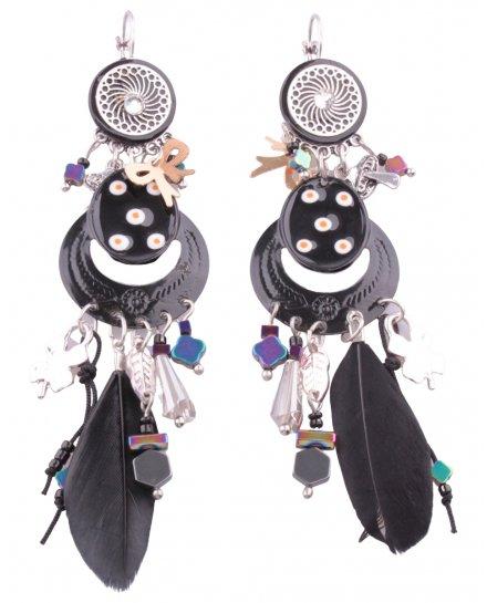 Boucles d'oreilles Medipois plumes et perles LOL
