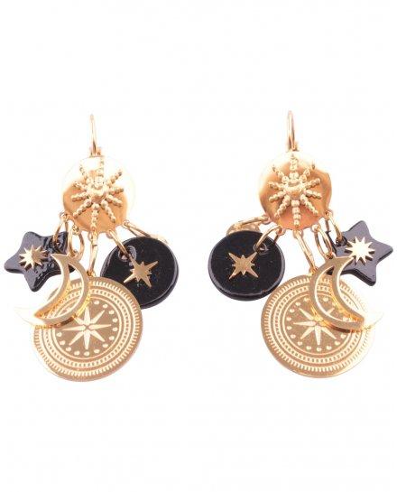 Boucles d'oreilles acier doré Lunitoili