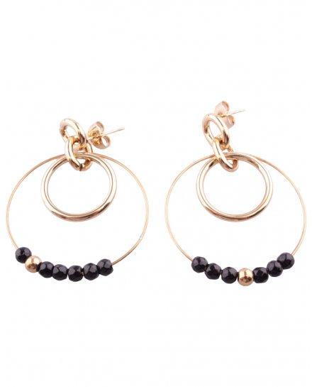 Boucles d'oreilles acier doré Double anneau perlé
