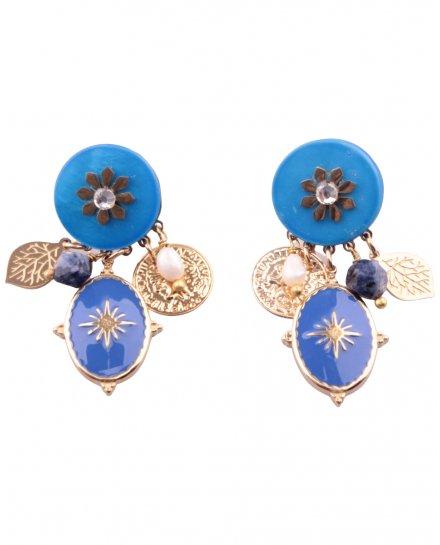 Boucles d'oreilles fleur coeur strass dorées et bleues