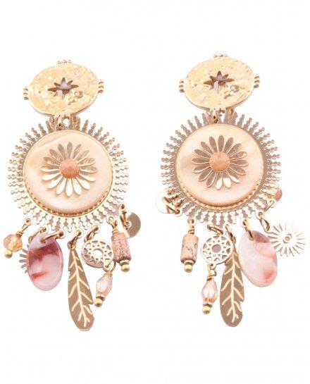 Boucles d'oreilles fleur beiges et dorées