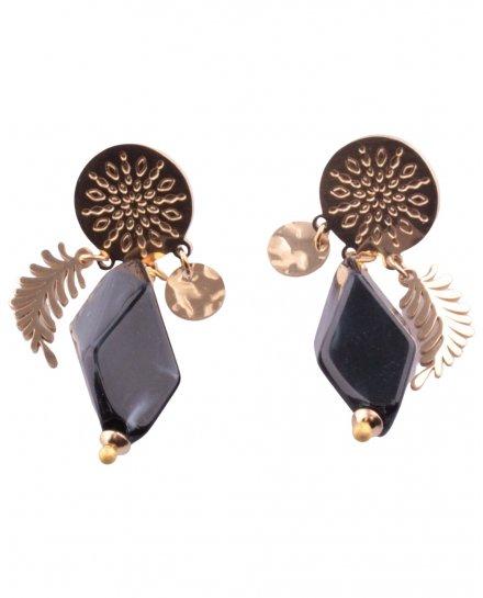 Boucles d'oreilles dorées feuille et pierre noire
