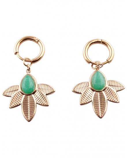 Boucles d'oreilles feuille vertes et dorées