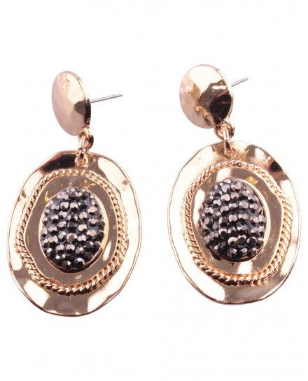 Boucles d'oreilles pendantes ovale doré