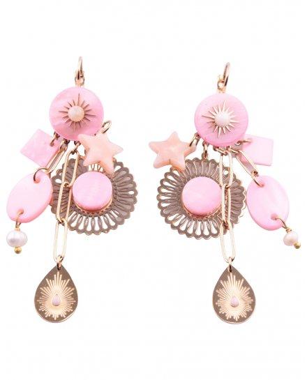 Boucles d'oreilles dorées et roses étoile