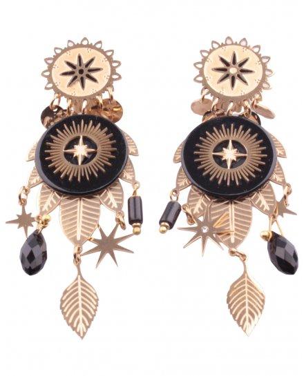 Boucles d'oreilles acier à clips dorées et noires