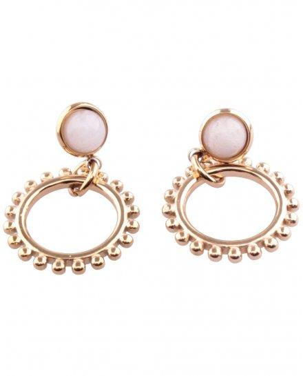 Boucles d'oreilles acier doré pierre agate blanc