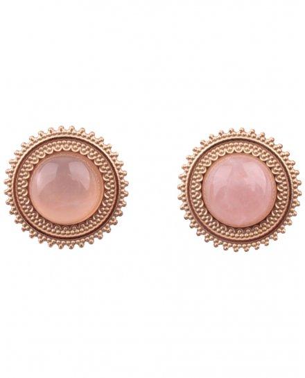 Boucles d'oreilles acier doré rond pierre quartz rose
