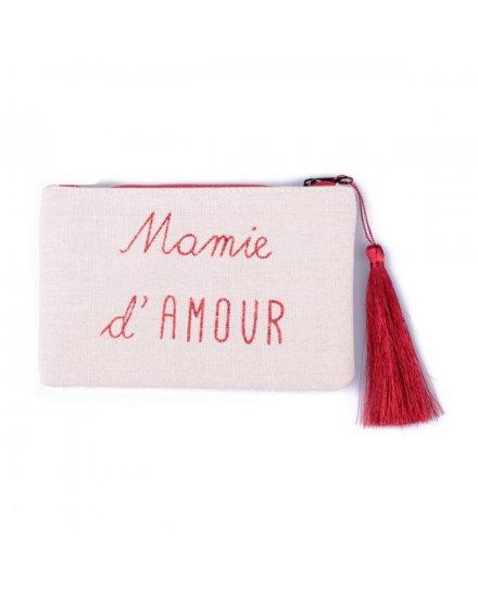 Pochette LOL beige pailletée Mamie d'amour rouge et pompon