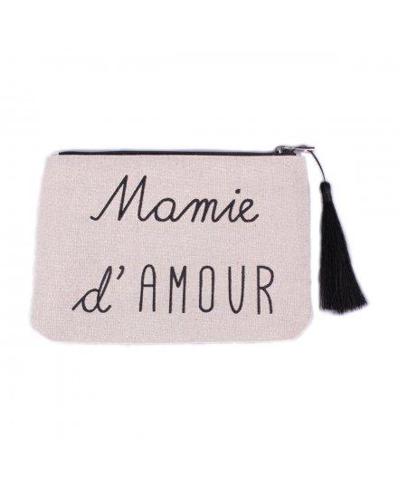 Petite pochette LOL beige pailletée Mamie d'amour et pompon