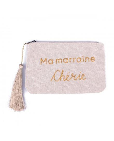 Pochette LOL beige pailletée Ma Marraine chérie et pompon