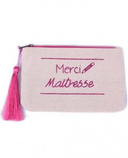 Petite pochette LOL beige pailletée Merci maitresse rose et pompon