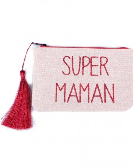 Petite pochette LOL beige pailletée Super Maman et pompon