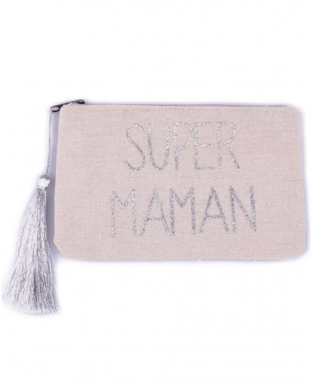 Petite pochette LOL beige pailletée Super maman argent et pompon