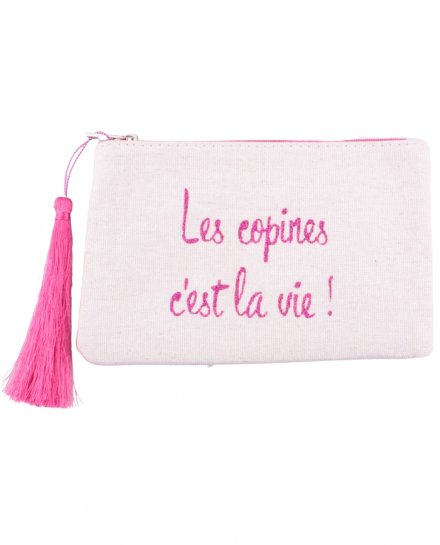 Petite pochette LOL beige pailletée les copines c'est la vie! rose et pompon