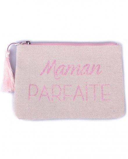 Petite pochette LOL beige pailletée Maman parfaite rose pâle et pompon