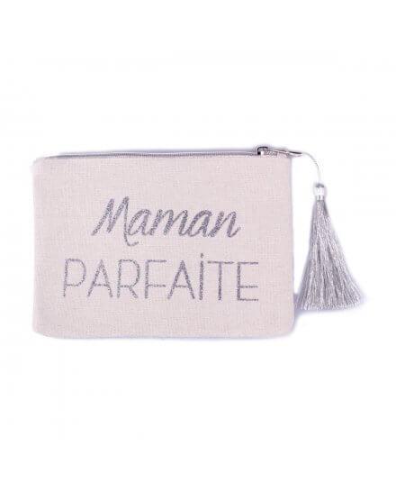 Petite pochette LOL beige pailletée Maman Parfaite argent et pompon