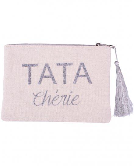 Petite pochette LOL beige pailletée Tata chérie argent et pompon