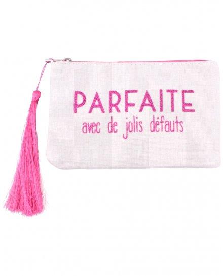 Petite pochette LOL beige pailletée parfaite avec de jolis défauts rose et pompon