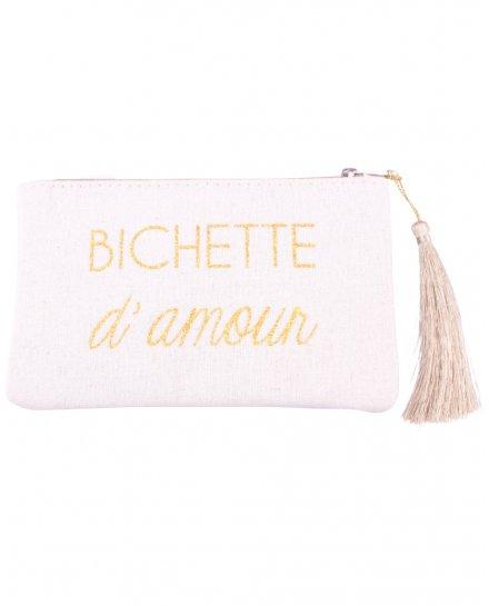 Petite pochette LOL beige pailletée Bichette d'amour et pompon
