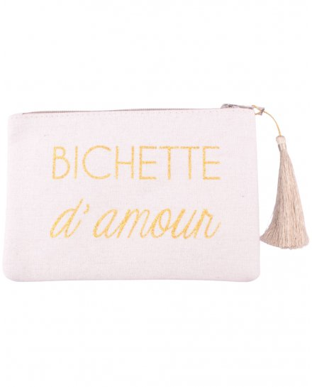 Pochette LOL beige pailletée Bichette d'amour et pompon