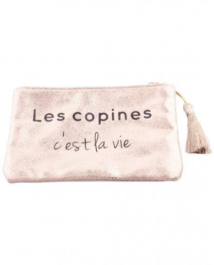 """Petite pochette LOL dorée pailletée """"Les copines c'est la vie"""" et pompon"""
