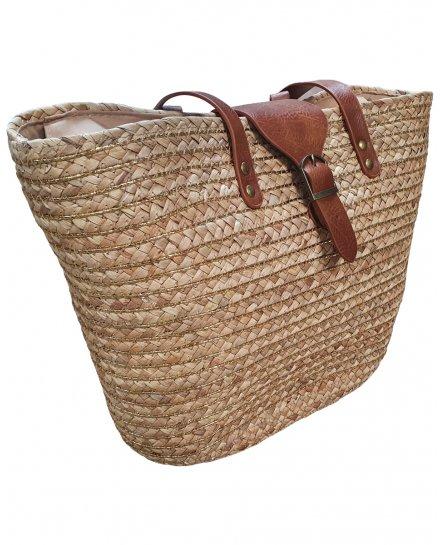 Grand sac cabas en paille tressée avec liseré