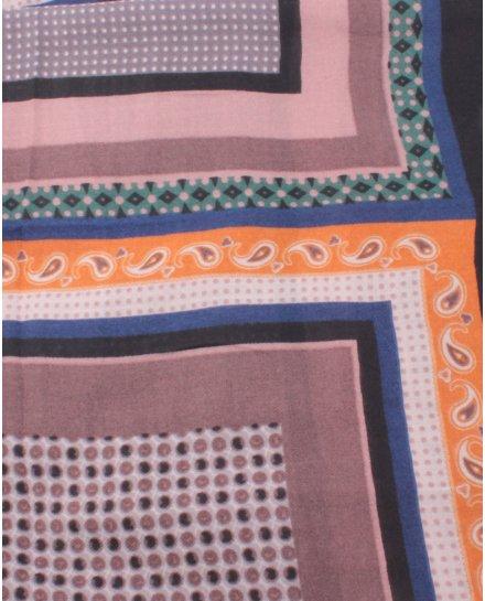 Echarpe noire motifs bleu orange taupe Vintagia