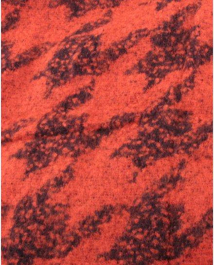 Grosse écharpe rouille et noire motifs ethniques