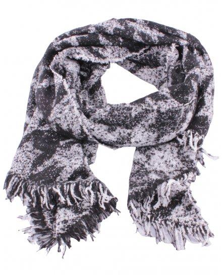 Grosse écharpe noire et blanche motifs ethniques