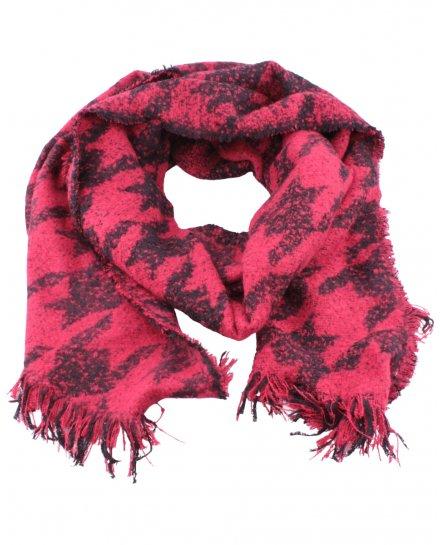 Grosse écharpe rouge et noire motifs ethniques