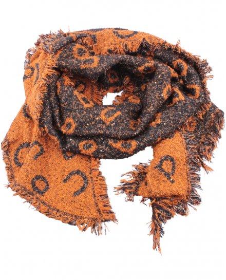 Grosse écharpe noire et orange liserés et sequins argent Alphabio