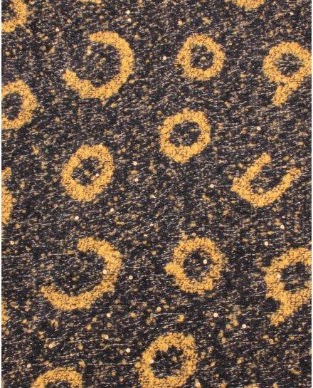 Grosse écharpe noire et jaune liserés et sequins argent Alphabio