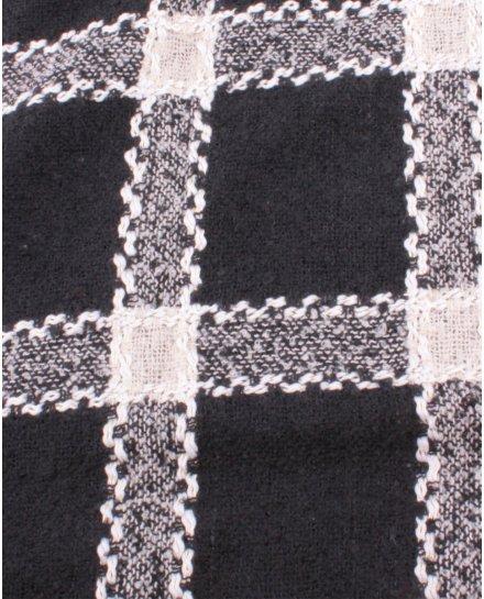 Grosse écharpe noire à carreaux noirs et blancs tressés dorés