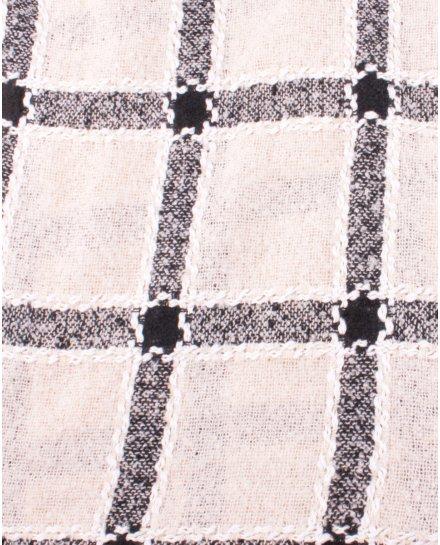 Grosse écharpe beige à carreaux noirs et blancs tressés dorés