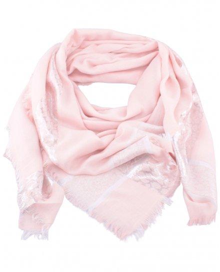 Echarpe carrée rose pâle bandeaux argent Tachilia